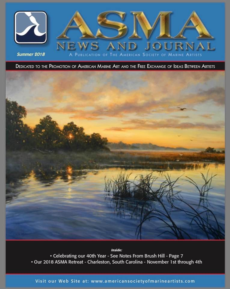 American Society of Marine Artists Journal Front Cover by Paula summer 2018