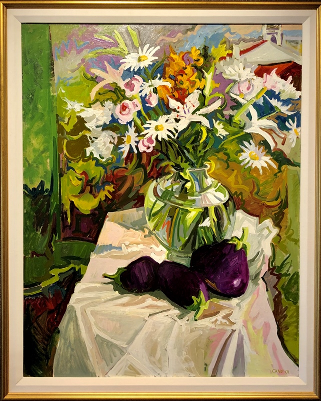 Floral with Eggplants by Joseph Cave Oil on Canvas 38x30 42x34 framed 6200 WEB