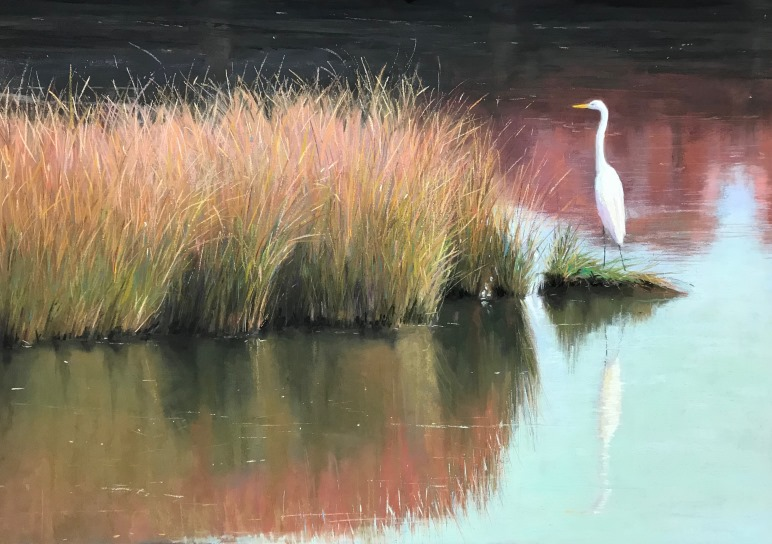 Gleim Egret in Fall Marsh 20x29 framed 25x34 3750 WEB